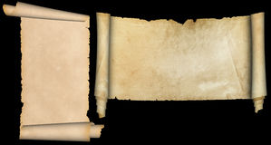 Two parchment scrolls. Stock Images