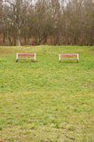 Two park benches Royalty Free Stock Photography