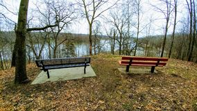 Park Benches Overlooking Rock River - Janesville, WI royalty free stock photography