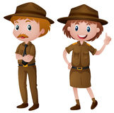 Two park rangers in brown uniform Royalty Free Stock Image