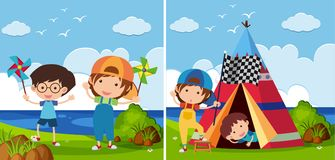 Two park scenes with kids playing. Illustration Royalty Free Stock Image