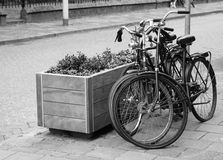 Two parked bicycles on the street in Black and White Stock Photo