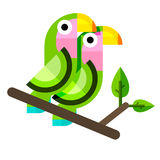Two parrots in flat style. Flat vector illustration of lovebirds. Two parrots in flat style Stock Image