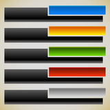 Two part banners, buttons with intersecting rectangles. 5 colors Stock Images
