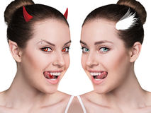 Two part of beautiful woman.Demon and angel. Royalty Free Stock Images