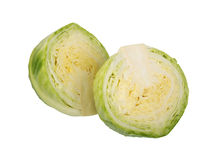 Two part of green cabbage. Royalty Free Stock Photo