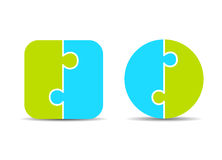 Two part puzzle diagram templates. Two part puzzle diagrams templates on white background Stock Photo