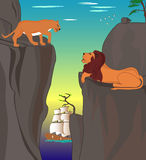Two parted lions search an opportunity to meet. Two parted lions in the mountains, vector illustration Royalty Free Illustration