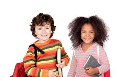 Children with backpacks Royalty Free Stock Image