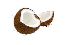 Two parts of brown coconut isolated on white background Stock Images