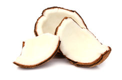 Two parts of a coconut. Isolated on white background Stock Images
