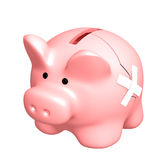 Two parts of a piggy bank, fastened by a plaster Royalty Free Stock Photos