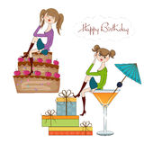 Two party girl set isolated on white background Royalty Free Stock Photography