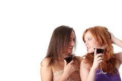 Two party girls with drinks Royalty Free Stock Photos