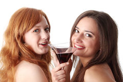 Two party girls with drinks Stock Image