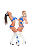 Two party girls in stage costumes Stock Photo