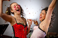 Two partying woman Stock Images