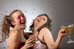 Two partying woman Royalty Free Stock Photo