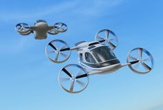 Two Passenger Drone Taxis flying in the sky. 3D rendering image stock illustration