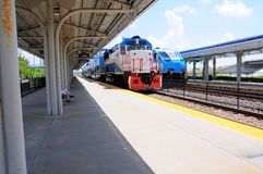 Two passenger trains in station, Florida Royalty Free Stock Image