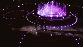 Two passionate dancers at night at the fountain. Beautiful sight. stock footage