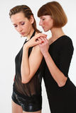 Two passionate women. Over white background Royalty Free Stock Photography