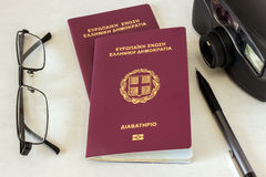 Free Two Passports, Glasses And A Camera. Concept - Preparation For T Stock Photos - 88562543
