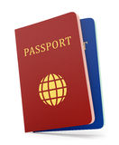 Two passports isolaed on white Stock Images