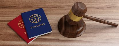 Two passports and a judge gavel on wooden desk background. 3d illustration stock image