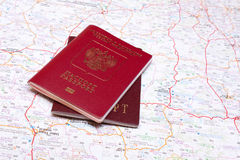 Two passports on the map. Foreingn and rusian passports on thailand map royalty free stock image