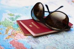 Two passports and sunglasses Royalty Free Stock Image