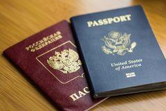 United States passport with Russian passport Royalty Free Stock Photography