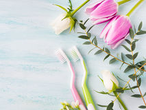 Two pastel toothbrushes with flowers herbs. Spring colors Royalty Free Stock Photo