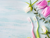 Two pastel toothbrushes with flowers herbs. Spring colors Stock Photo