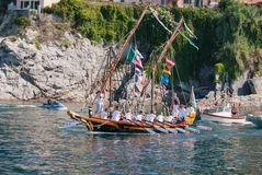 Folkloristic Christian procession of boats during Star Maris local party of the sea in Camogli stock photo