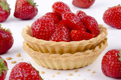 Two Pastry Cases With Fresh Strawberries Royalty Free Stock Photos