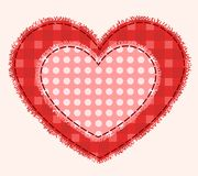Two patchwork hearts. Two hearts sewed together. Patchwork illustration Royalty Free Stock Photo