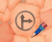 Two path split symbol and small pencil with it. Illustration work Stock Images