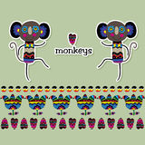 Two patterned monkey with the words in English. stock illustration