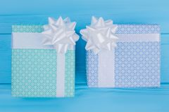Two patterned present boxes. stock photography