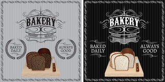 Two patterns with different bread for advertising Royalty Free Stock Photos