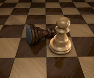 Two pawns on chess board Royalty Free Stock Photography