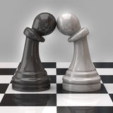 Two pawns in love Stock Images