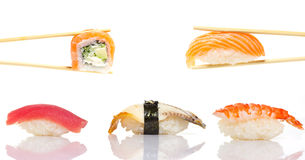 Two peaces sushi roll isolated on white background Royalty Free Stock Photos