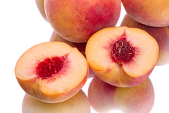 Two peach halves Royalty Free Stock Photography