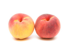 Two peaches on a white background close-up Stock Photo