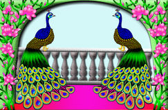 Two peacocks on a balcony Royalty Free Stock Photography