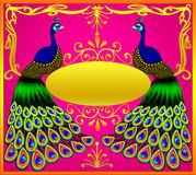 Two peacocks with gold(en) ova. L and ornament Royalty Free Stock Photography