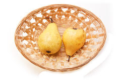Two Pear In Basket Royalty Free Stock Photography