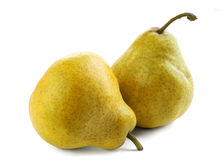 Two Pears. Two ripe  and juicy pears on a white background Royalty Free Stock Image